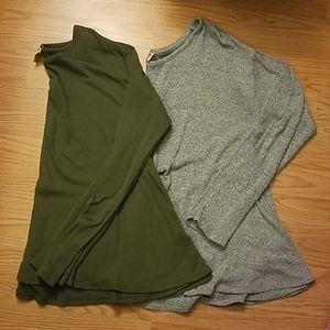 Bundle of 2 Long Sleeve shirts gray green